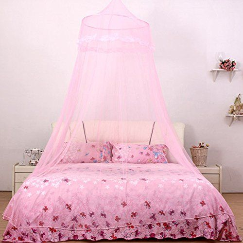 Comforbed Elegant Lace Round Hoop Canopy Netting Mosquito Net Fit Twin Full Queen Bed Pink