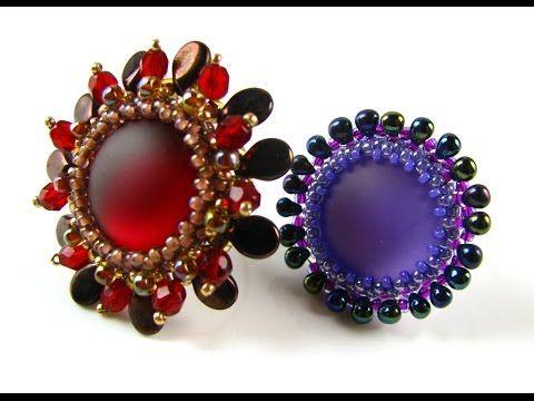 Lunasoft Cabochon Rings with pip beads and Miyuki drop beads ~ Seed Bead Tutorials