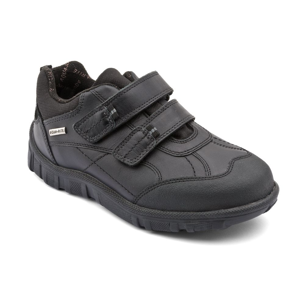 ff4a45ad77f37 Aqua Rain - Black Leather - these weather proof Start-rite boys school shoes  are made from water resistant leather, are light-weight and durable, ...