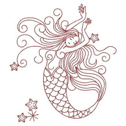 Redwork Mermaid Embroidery Design | Wood burning | Pinterest ...