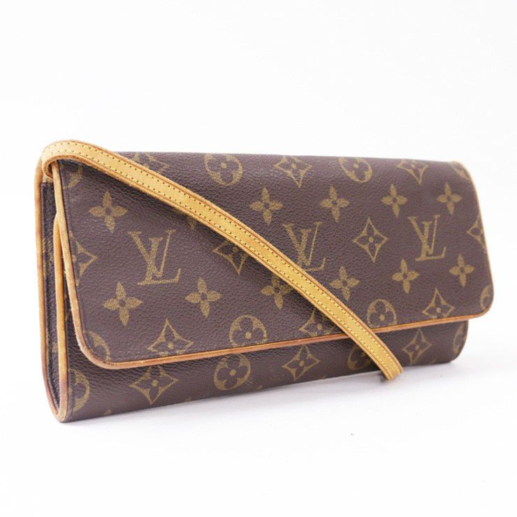 3cdd5682e0d1 Auth LOUIS VUITTON Monogram Pochette Twin GM M51852 Shoulder Bag Brown  Leather  fashion  clothing
