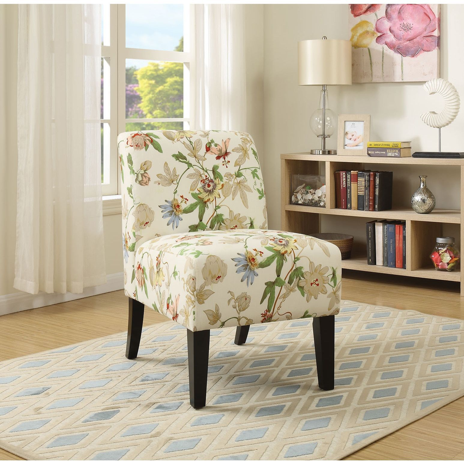 Ollano Floral Fabric Accent Chair (Floral Fabric, 23L x 31\