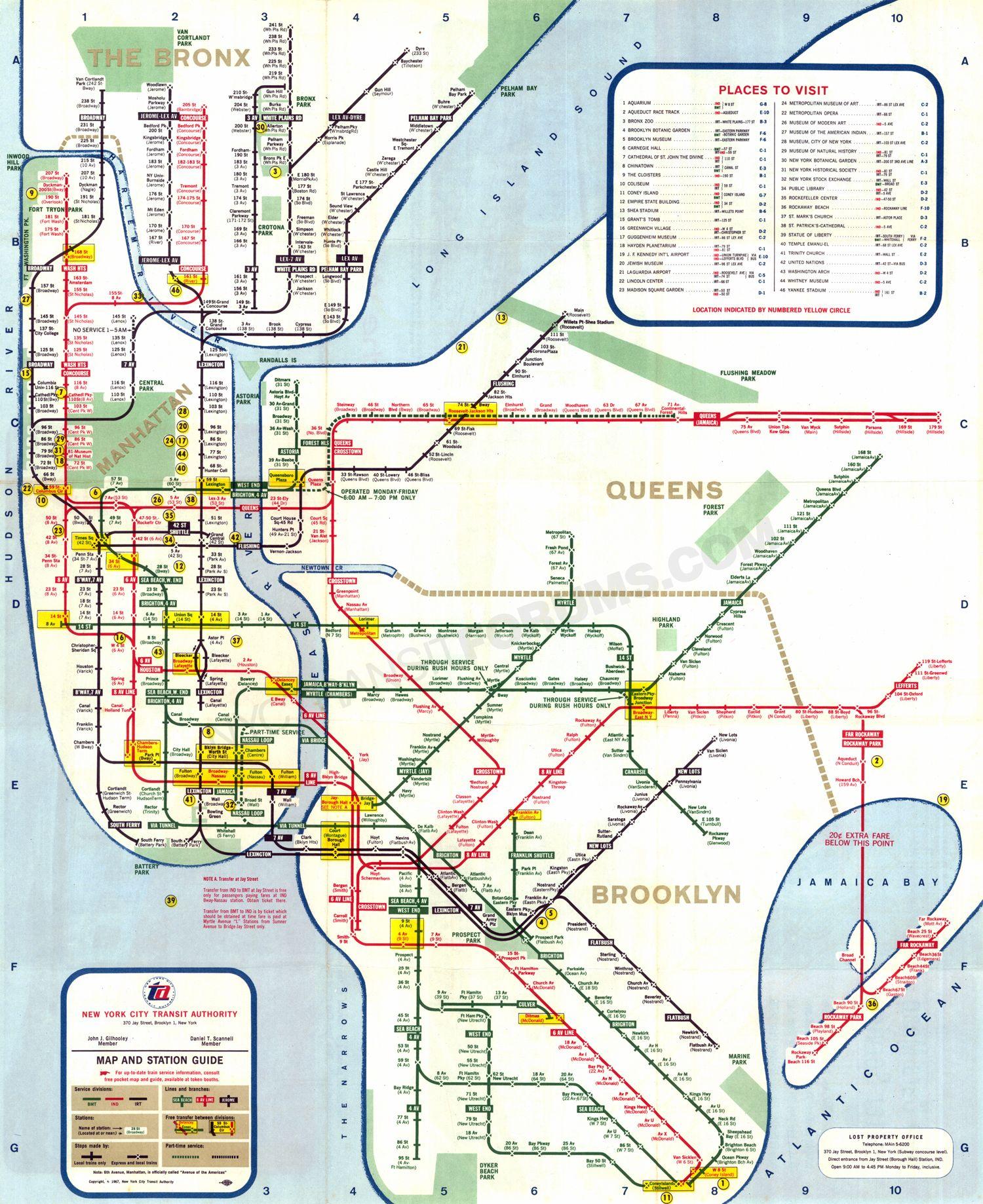 1967 new york city transit authority subway map httpwwwnyctransitforums