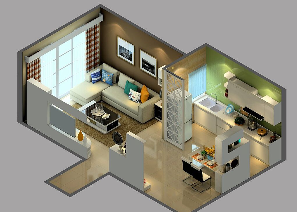 3D-view-of-living-dining-room-and-open-kitchenjpg 1,020×726 pixels - fresh blueprint design chiang mai