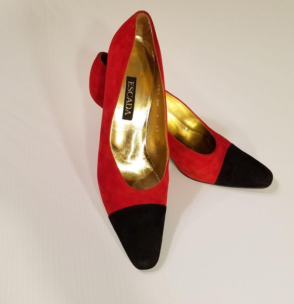 b1c18abf6b546 ESCADA Vintage Red Black Suede Heels Pumps Holiday Christmas Size ...