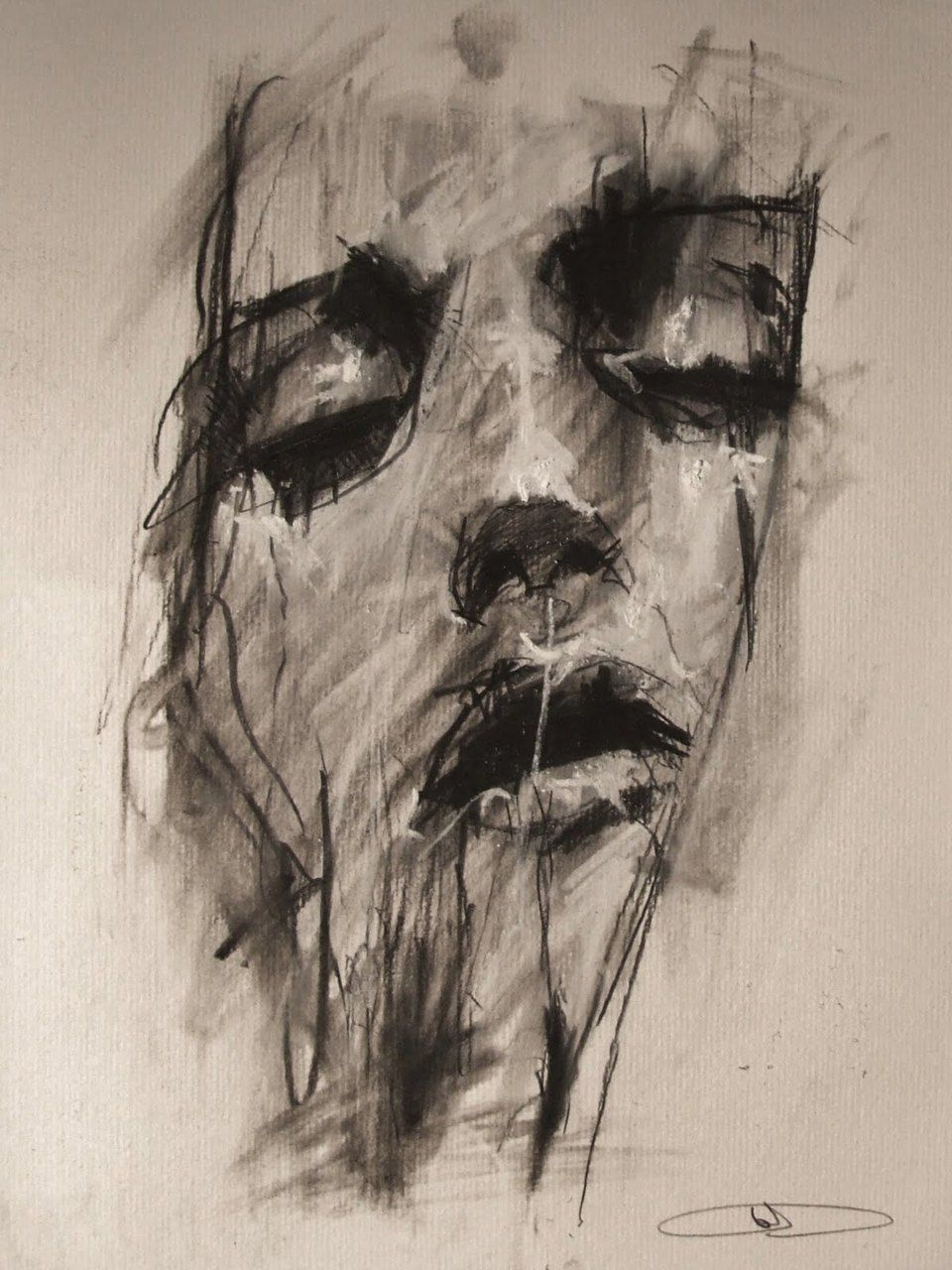 """""""Willful Self-Deception 3"""" byGuy Denning, 24 x 32cm, conte and chalk on paper"""