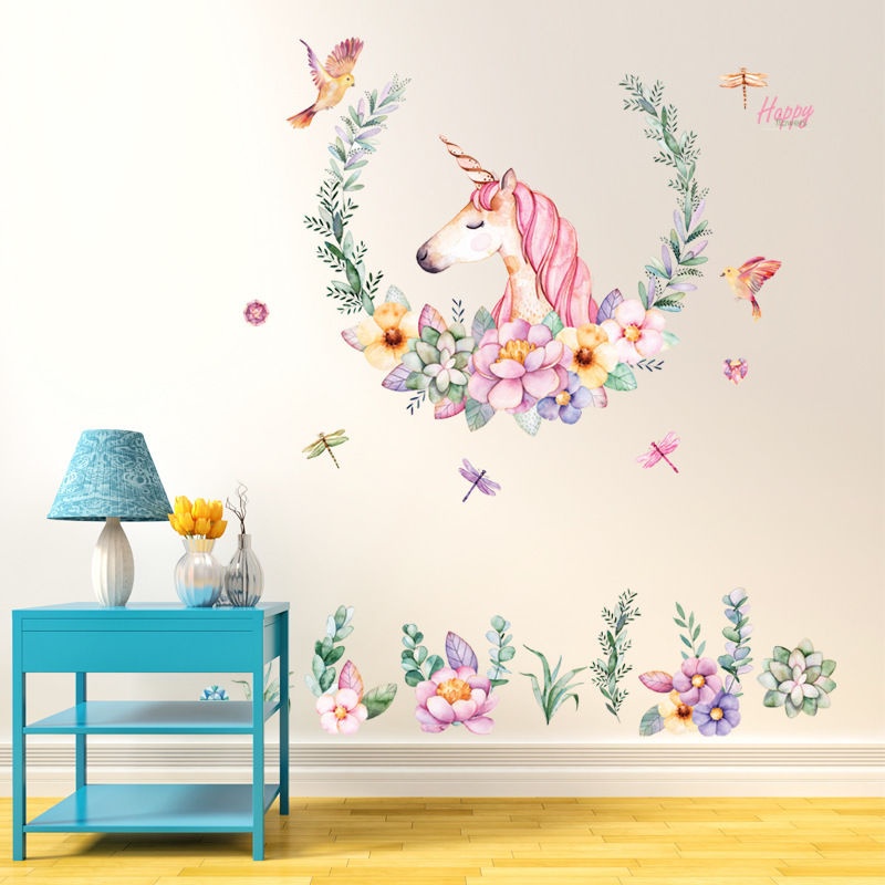 Cartoon Unicorn Wall Stickers Colorful Unicorn Nursery Wall Decal Mural  Wall Sticker Art Removable Vinyl Home