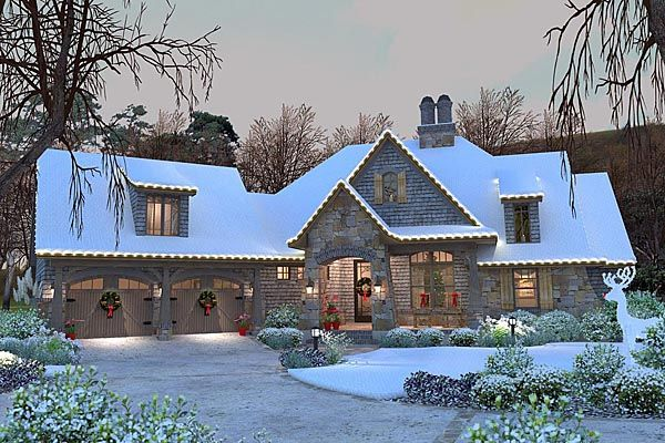 Elevation Of Cottage Craftsman French Country House Plan 75134 For