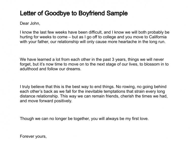 Goodbye Letter Boyfriend Good Bye Sample Help Write Mature Break