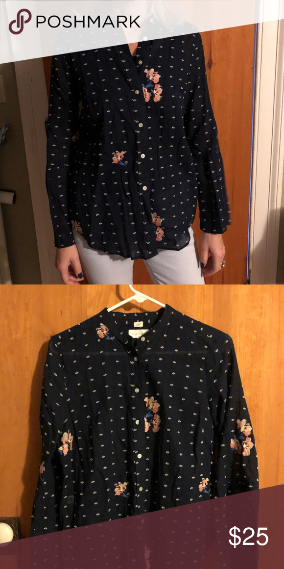 4c81e01e34f5 LOFT Blouse!! Navy blue blouse with white polka dot and pink floral  detailing! LOFT Tops Blouses
