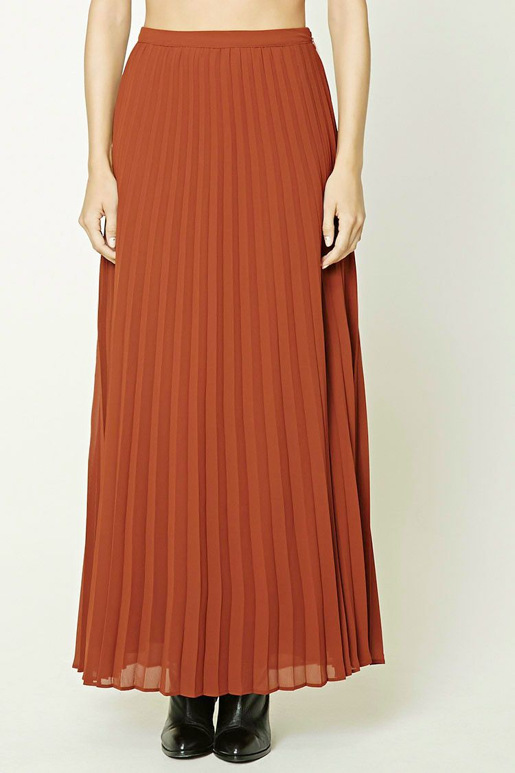 Contemporary Accordion Skirt (color: rust) - Forever 21