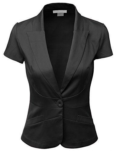 Doublju Women Short Sleeve Cotton Span Satin Fabric Boyfriend Jacket Blazer  Black X-Large Doublju