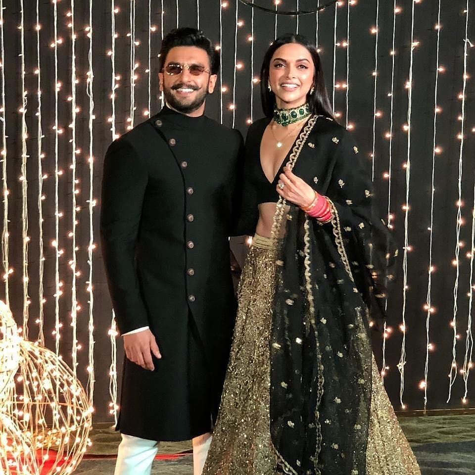 Deepika Padukone And Ranveer Singh At Nickyanka Reception Tonight Wedding Outfit For Boys Indian Wedding Outfits Wedding Outfits For Groom