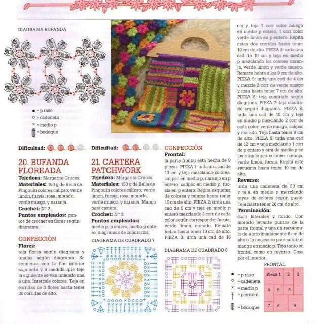 Patrones Crochet: Conjunto Crochet Bufanda Flores, Cartera Patchwork ...