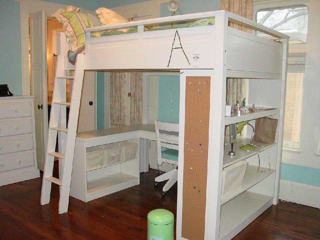 e91e869c77b POTTERY BARN SLEEP/STUDY LOFT BED WHITE WOODEN LOFT BED WITH COMPUTER DESK  AND SHELVING BELOW W/MAT