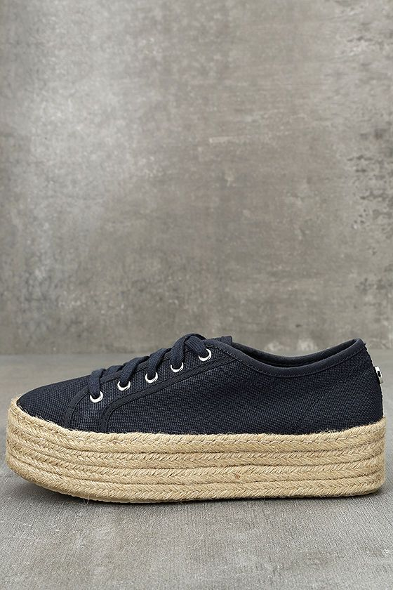 b5d355a5ca97 Vacation like the celebs in the Steve Madden Hampton Navy Blue Flatform Espadrille  Sneakers! These lace-up canvas sneakers are given a fun Boho update with ...
