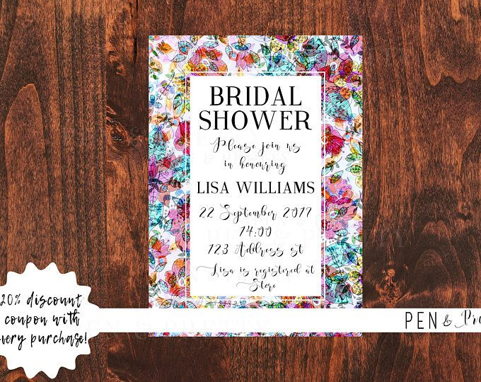 bridal shower invitation watercolor floral pattern printable bridal shower invitation bridal shower invitation kit