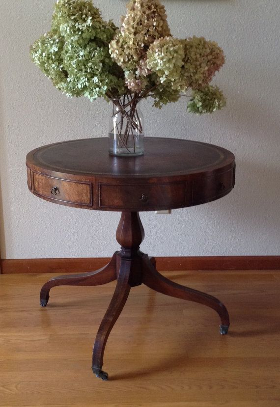 Attractive Antique Weiman Drum Table, Leather Top Table, Game Table, Parlor Table, Wood