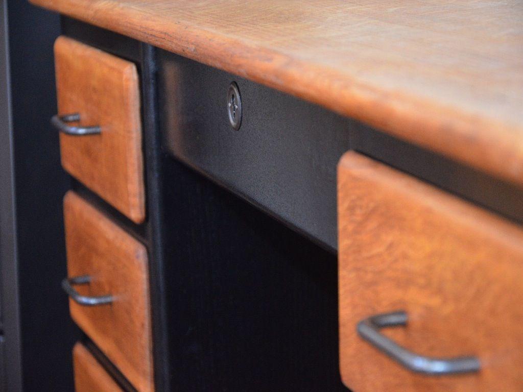 bureau bois, bureau vintage, bureau industriel, bureau bois métal