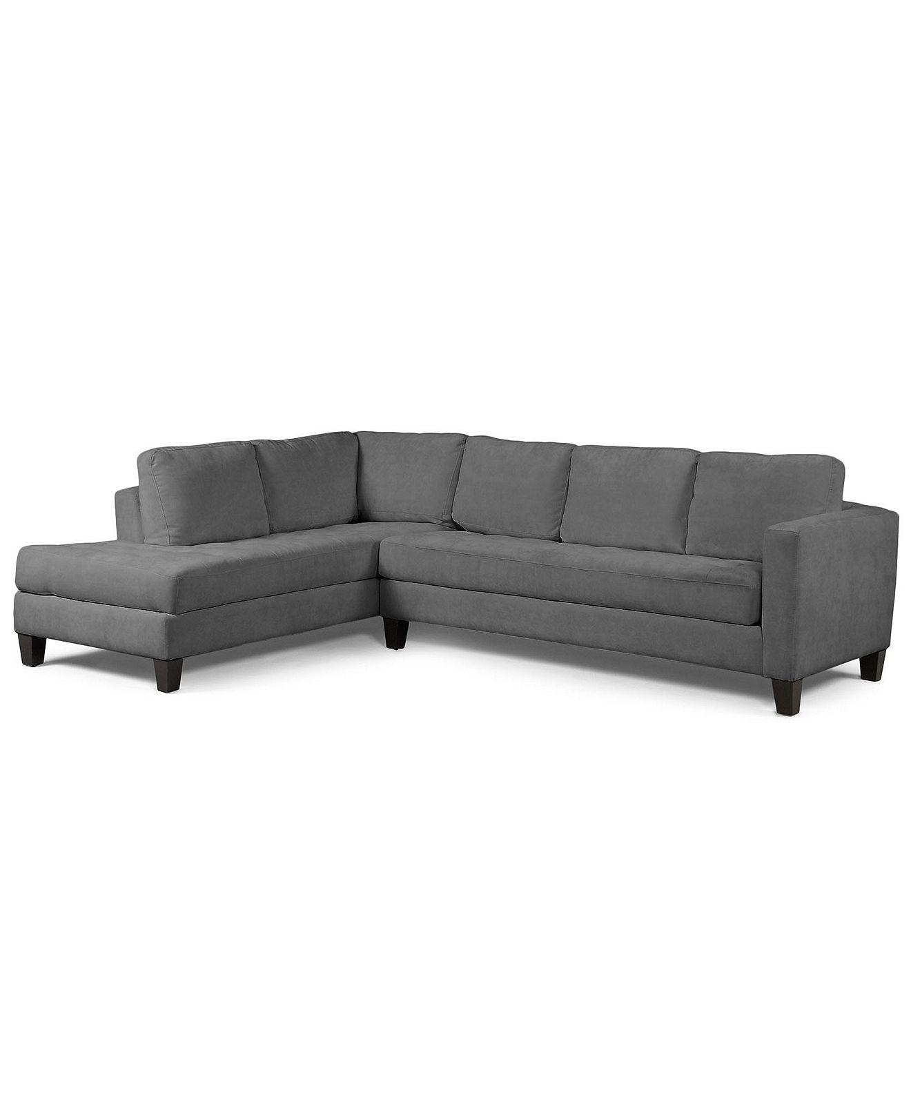 Milo Fabric Microfiber Sectional Sofa 2 Piece Sofa