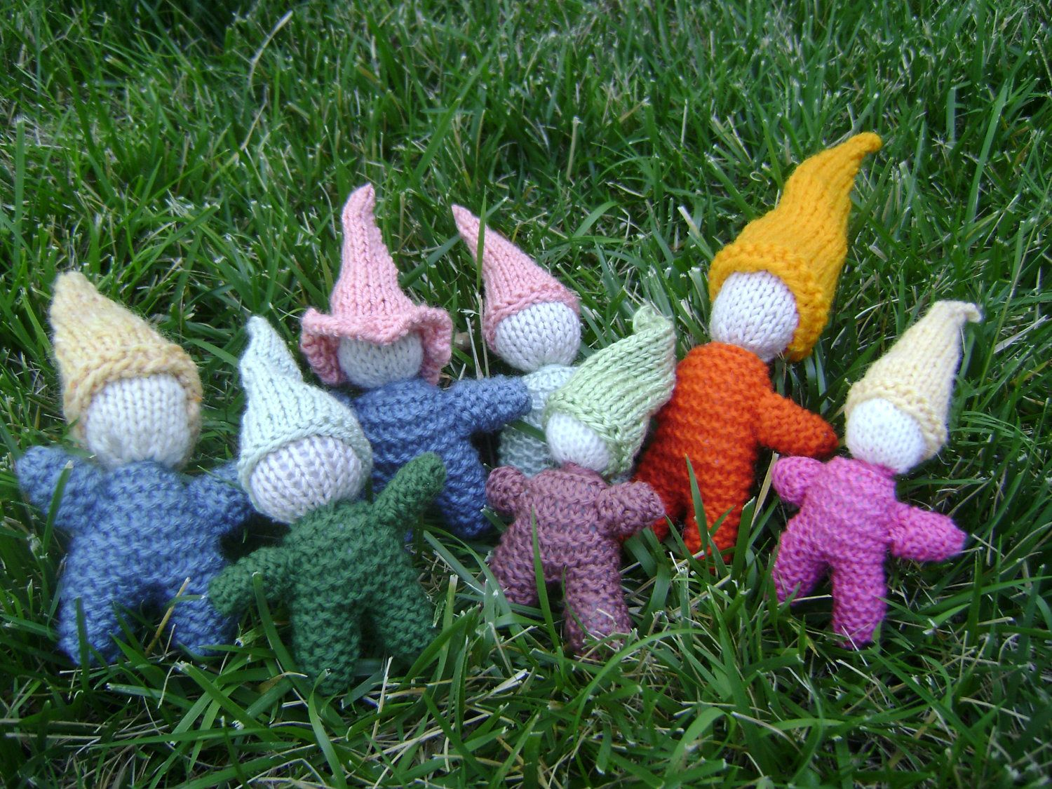 Gnomes or Imaginative woodland play friend. Elf, Dwarf, or Fairy.  Hand Knit. Waldorf Inspired. FREE SHIPPING. $11.00, via Etsy.