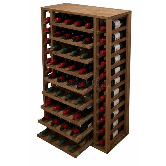 Botellero pino godello 58 botellas baldas extraibles muebles para vino botelleros - Botelleros de madera para vino ...