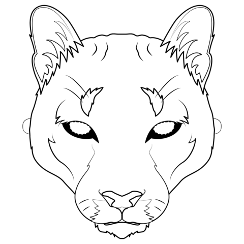Mascara De Puma Dibujo Para Colorear Lion Mask Mountain Lion Coloring Pages