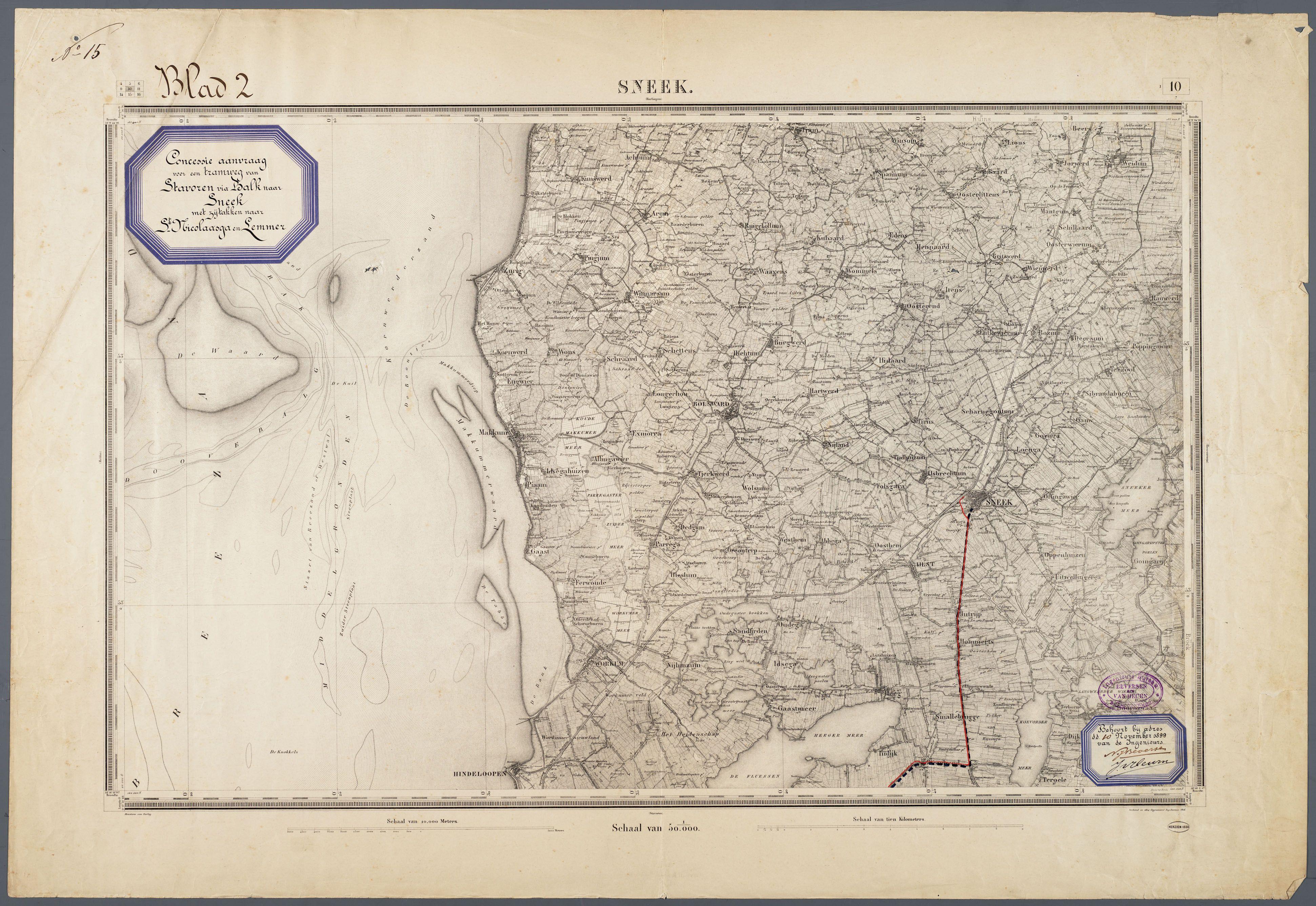 Kaart Van Zuidwest Friesland Met Daarop Een Tramweg Tussen