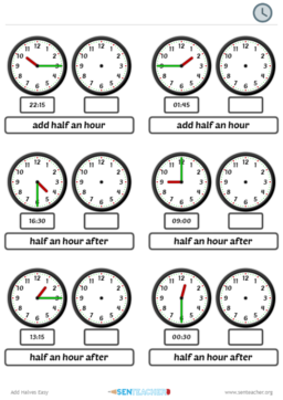 SEN Teacher ⋆ Clocks - Telling Time ⋆ Printable Worksheet ...
