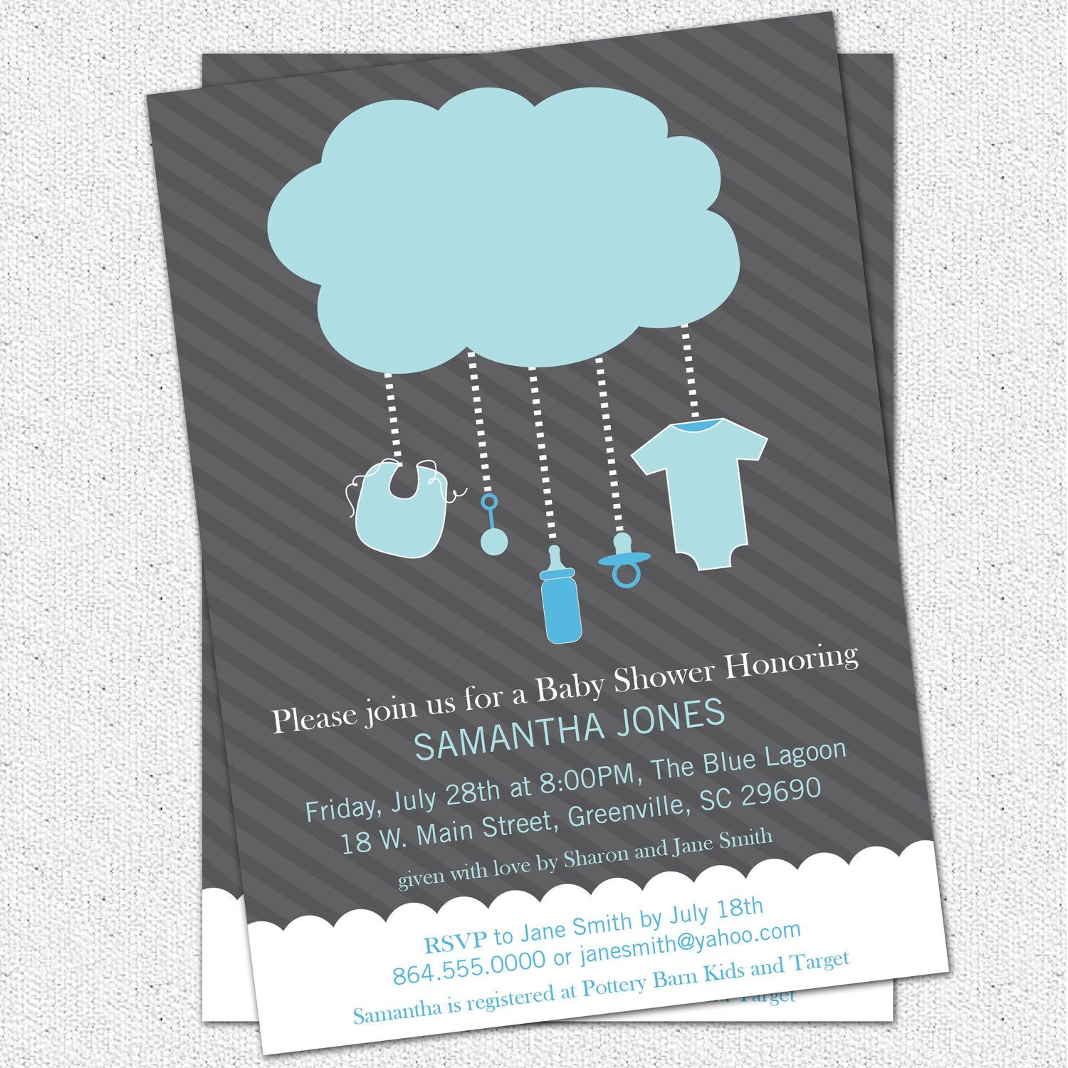 Printable Rain Cloud Baby Boy Shower Invitation, Light Blue Dark ...
