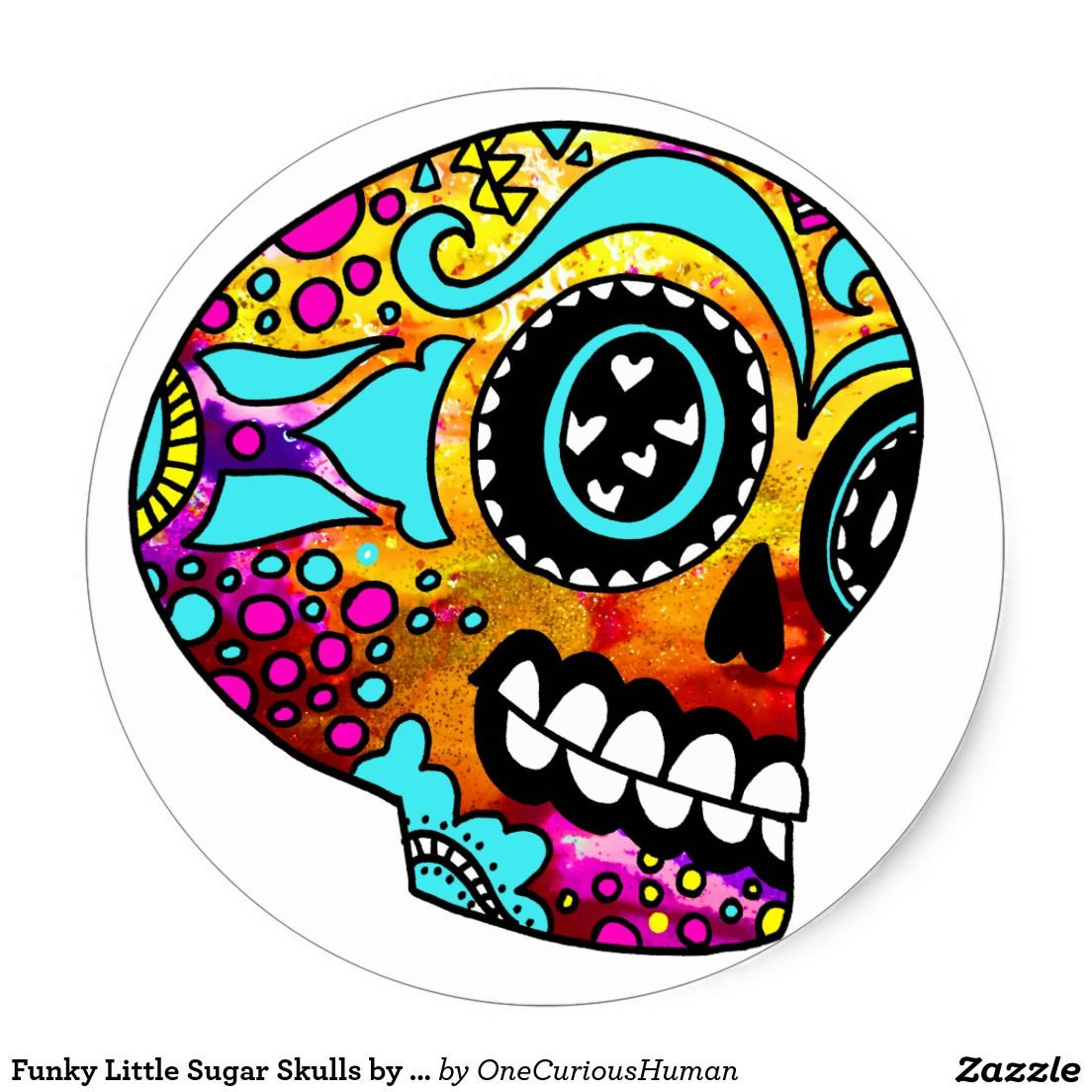 Funky Little Sugar Skulls By Onecurioushuman Classic Round