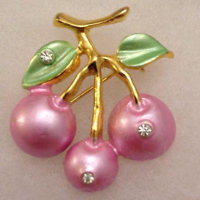 Vintage Jo Jo Enamel Pink Cherries with Green Leaf Rhinestones Brooch.
