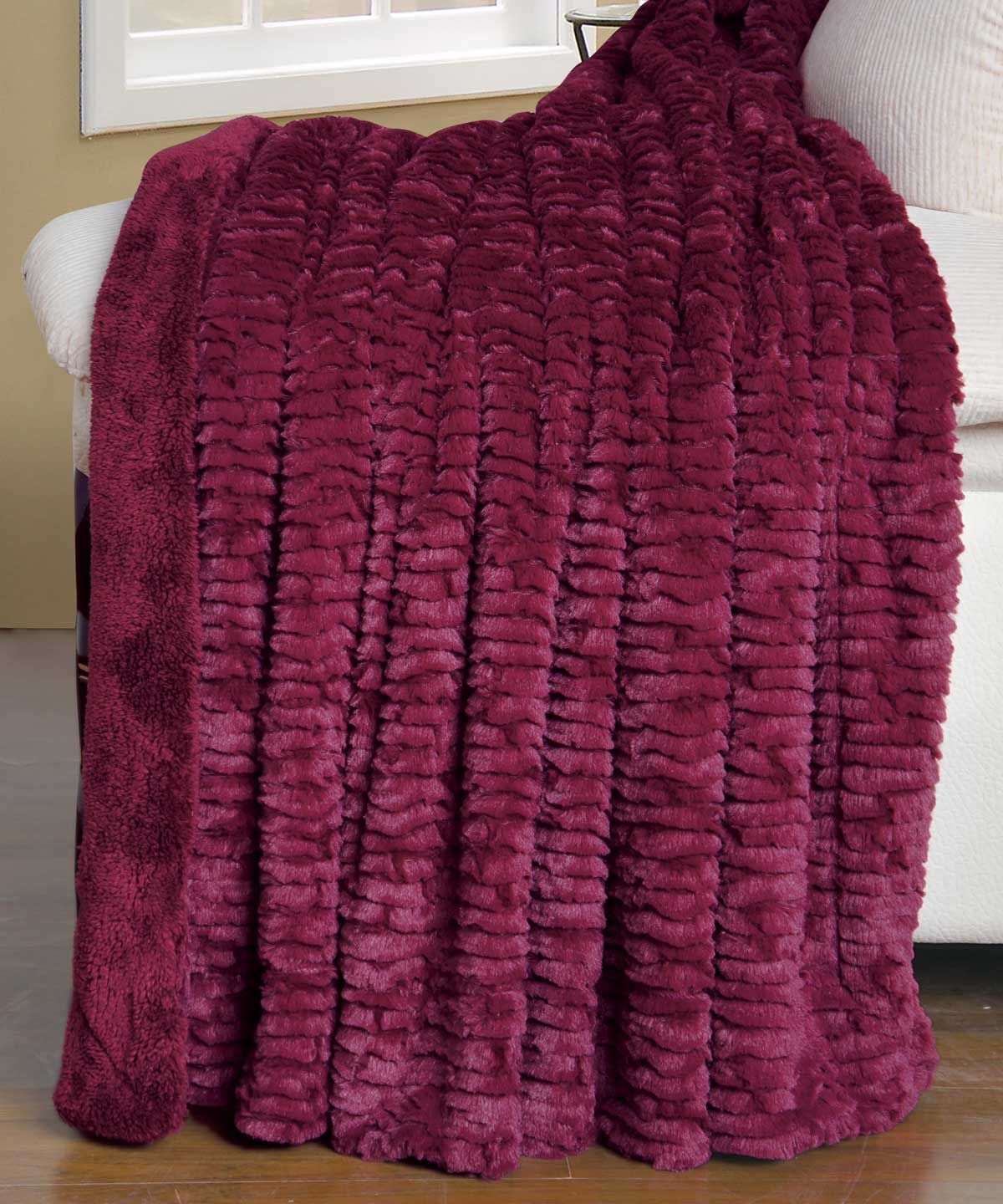 Air Brushed Burgundy Colleen Faux Fur Throw Blanket #HST