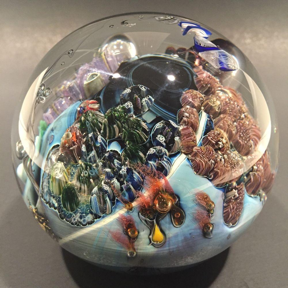 "Huge 3 3 4"" Josh Simpson Art Glass Paperweight Inhabited Planet Sculpture | eBay"