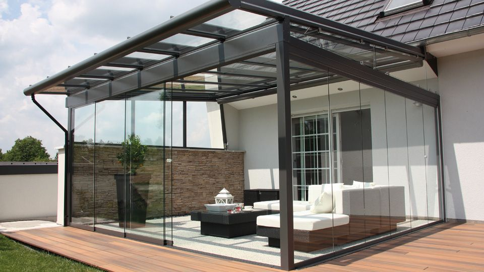 Schrägedach Terrassen Überdachung-Glas Rattan Gartenmöbel Garten