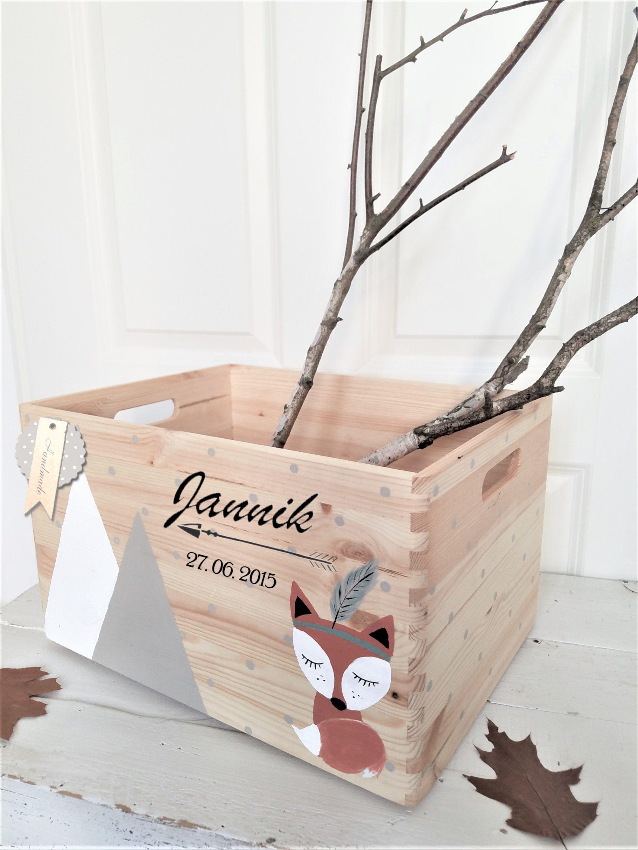 Holzbox Spielzeugkiste F O X Bemalte Spielzeugkiste Box Und Holz