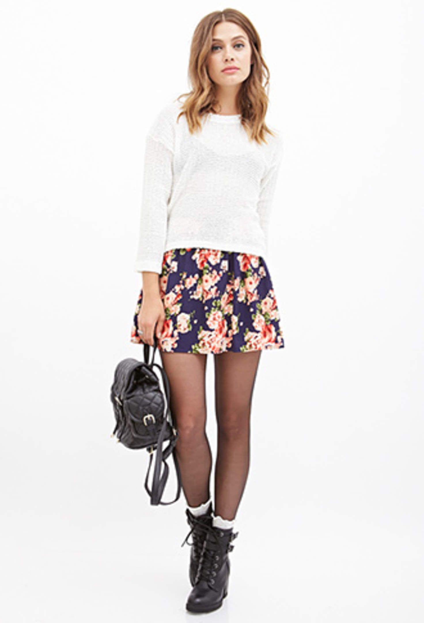 FOREVER 21 Watercolor Rose Skater Skirt | Skater skirt ...