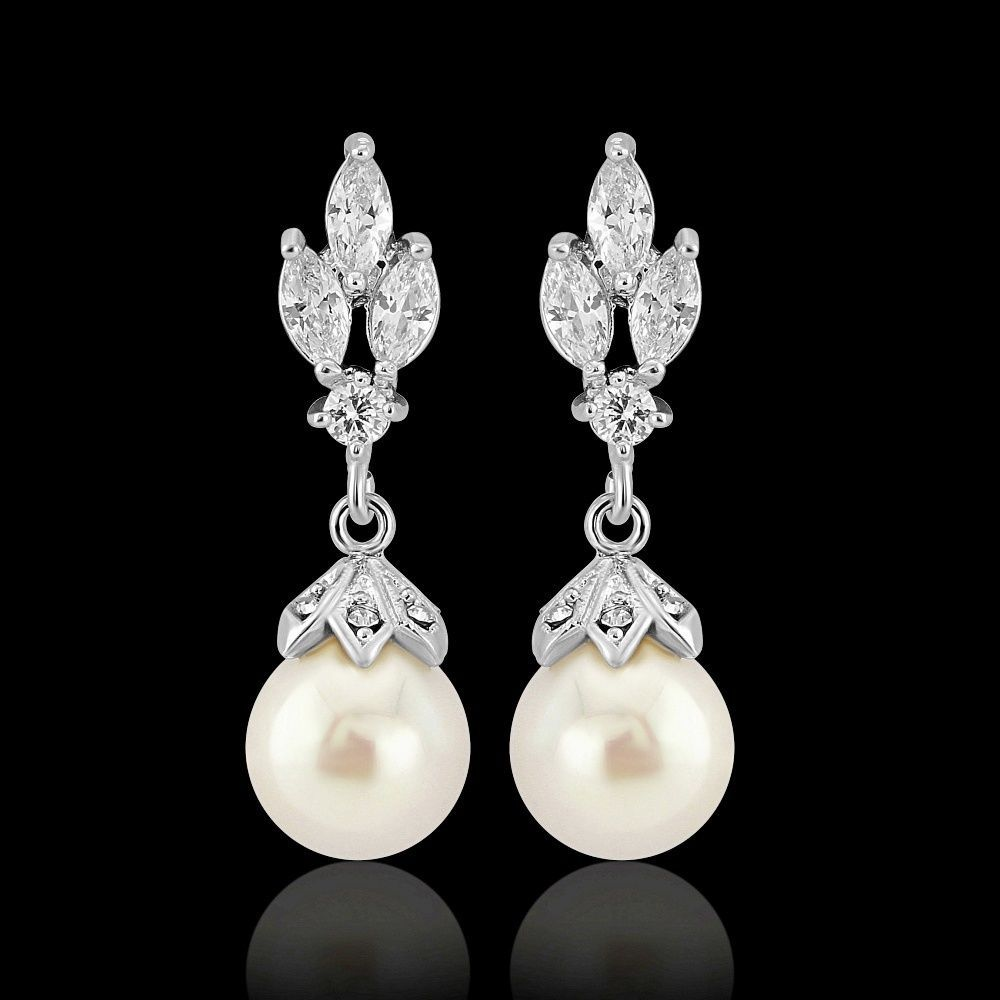 Designer White Pearl Earrings Wedding Bridal Vintage Silver Clearearrings Athena Dropdangle