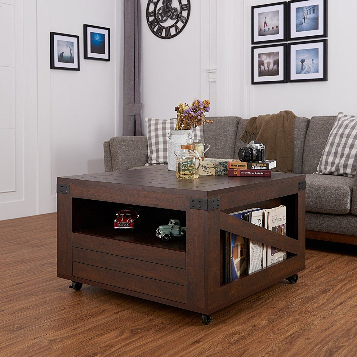 Storage Table On Wheels Iohomes Clyde Industrial Coffee Table Vintage Walnut Coffee