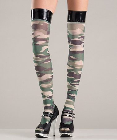 84c49bb837a8c This Green Camo Thigh-High Stockings is perfect! #zulilyfinds ...