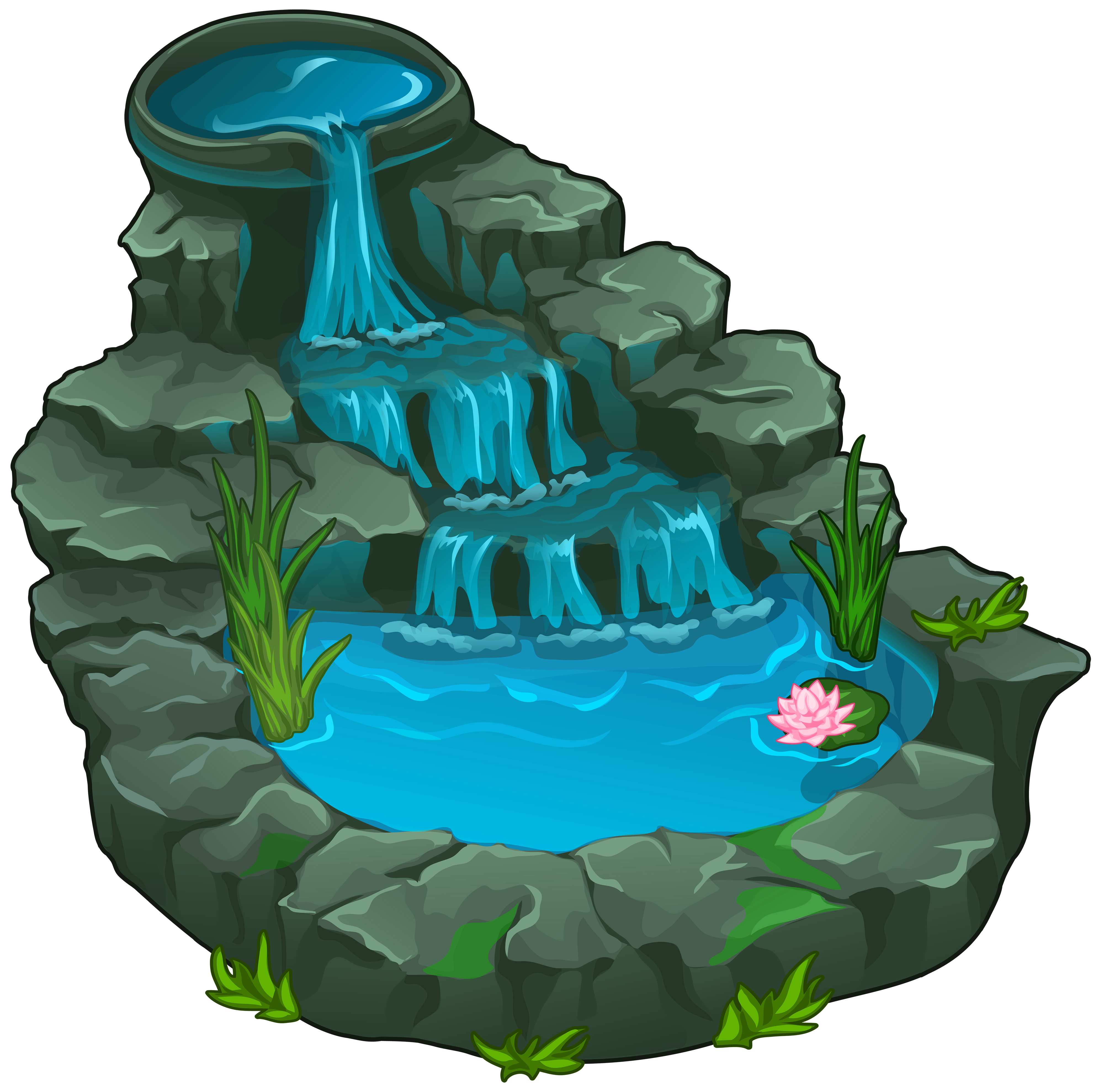 Ponds and Waterfalls Clip Art