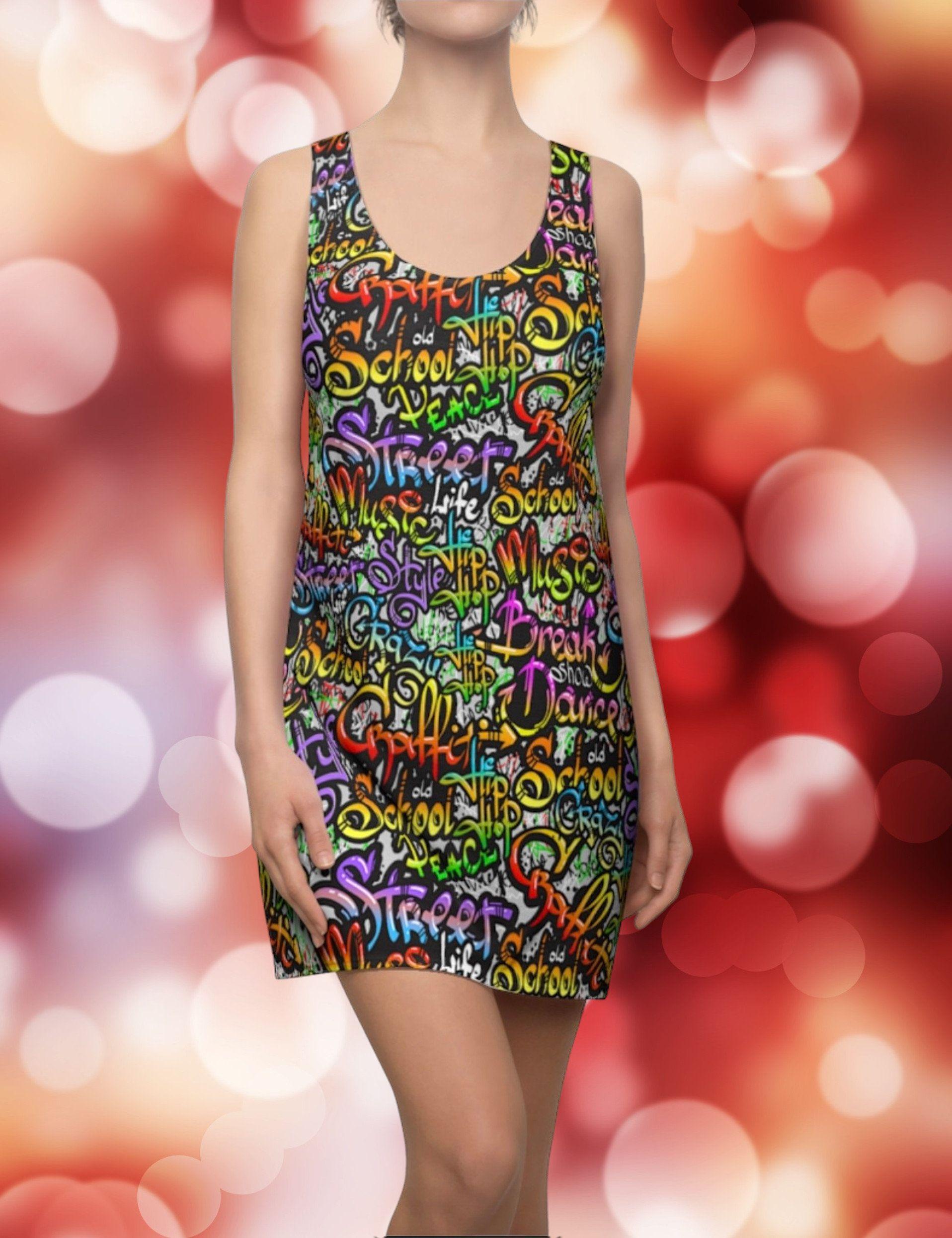 Graffiti Style Racerback Dress Boho Dress Cocktail Dress Etsy Boho Dress Racerback Dress Girls Party Dress [ 2492 x 1916 Pixel ]