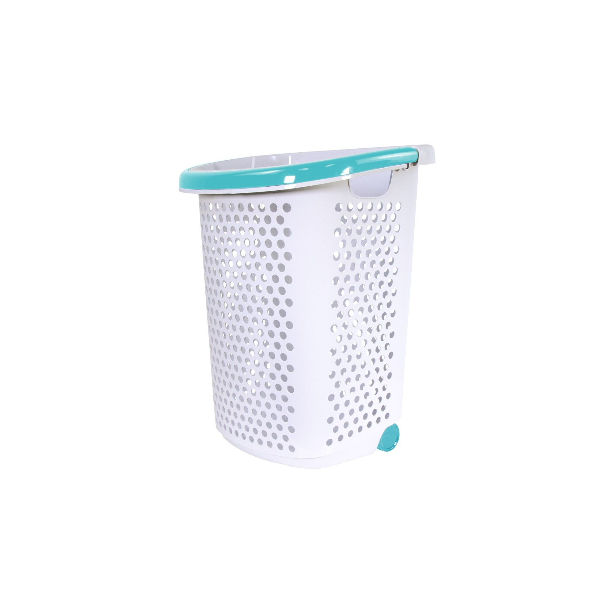 Home Logic Rolling Laundry Hamper White With Teal Handle Room
