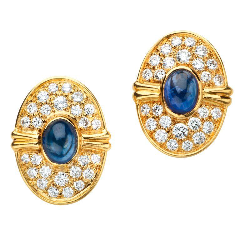 HARRY WINSTON Diamond & Sapphire Earrings(1990's)