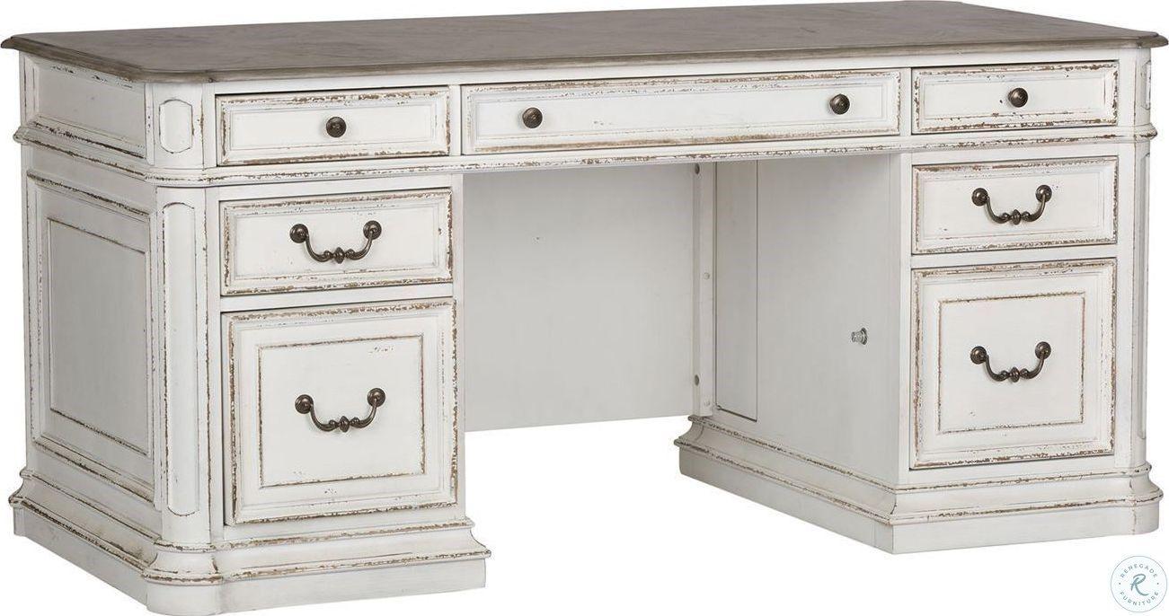 Magnolia Manor Antique White Jr Executive Desk In 2020 Antique White Desk Rustic White Desk Vintage White Desk