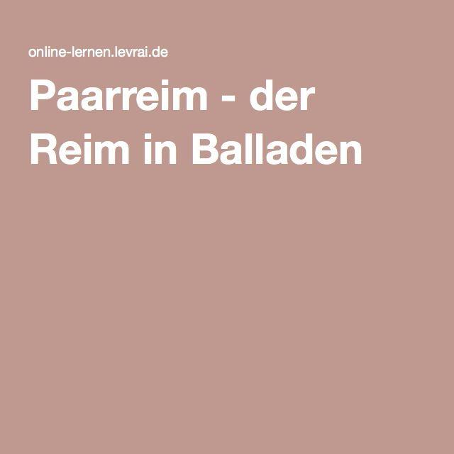 Paarreim Der Reim In Balladen Teaching Reime Deutsch
