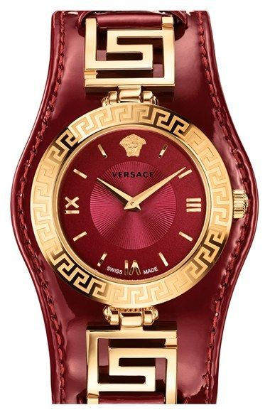 Versace 'V-Signature' Convertible Leather Strap Watch, 35mm  | ≼❃≽ @kimludcom
