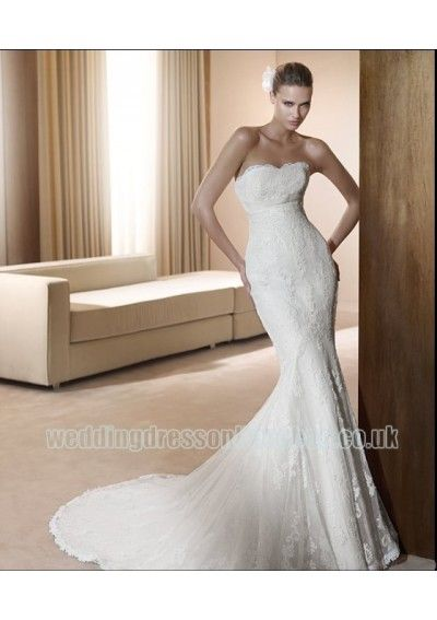 Wedding dress online shop - Organza Strapless Soft Neckline with Sexy Slim Mermaid Skirt Fashion 2011 White Wedding Dress WD-0413