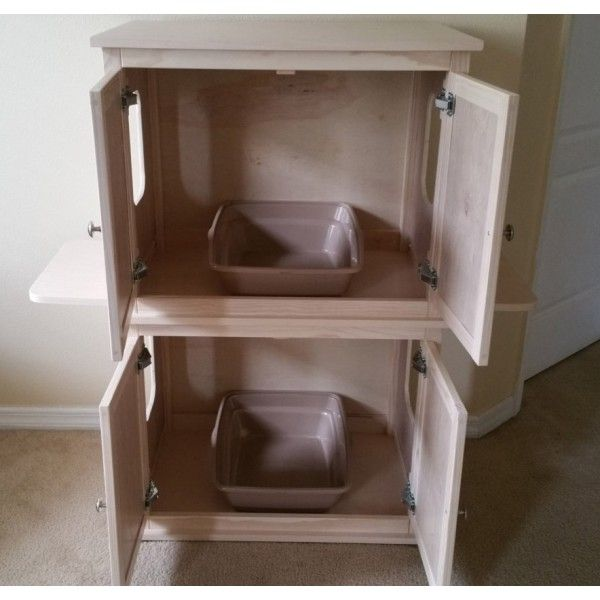 Elegant Stacked Double Cat Litter Box Cabinet With Odor Absorbing Light