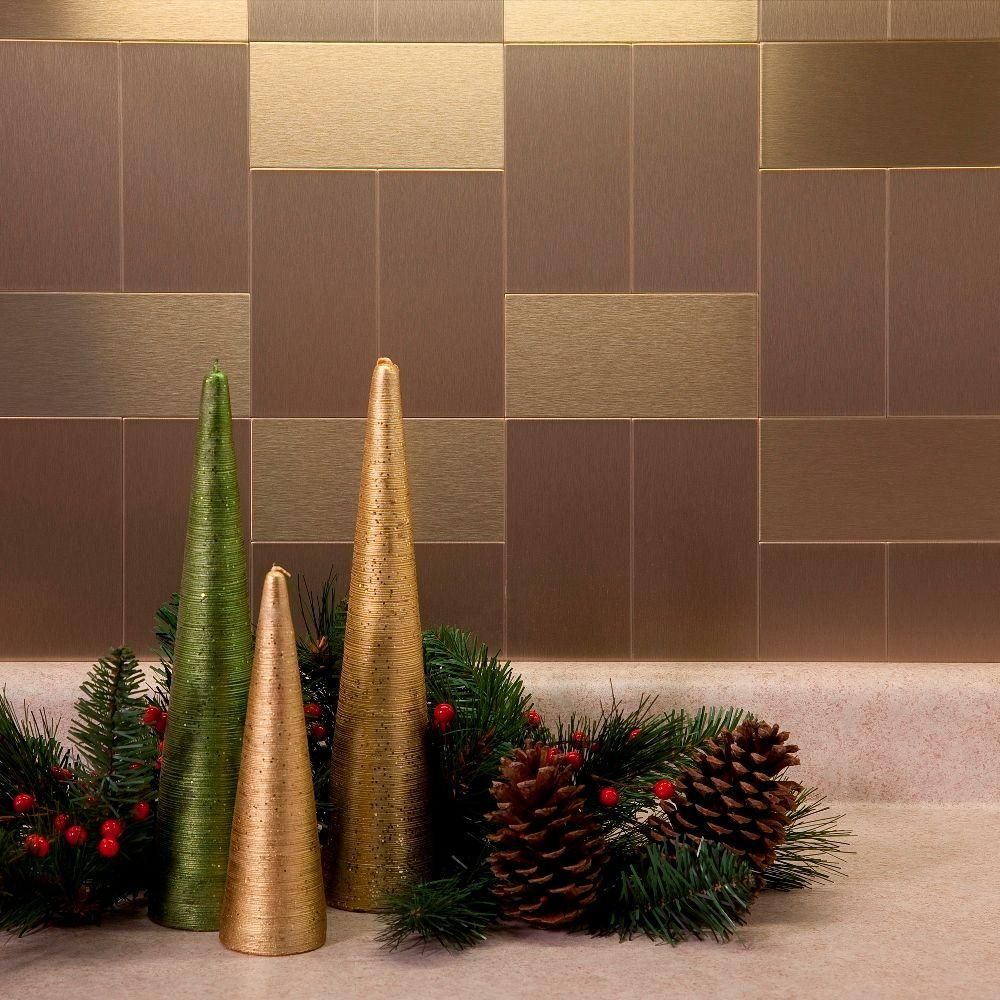 Metal Decorative Tiles Long Grain 6 Inx 3 Inbrushed Champagne Metal Decorative Wall